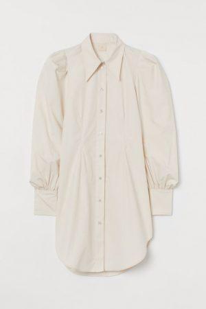 Puff-sleeved shirt dress