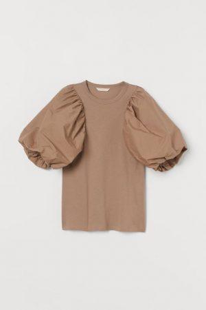 Puff-sleeved top beige