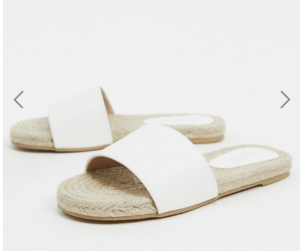RAID Wide Fit Hayley espadrille slides in white