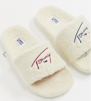 Tommy Jeans signature logo teddy sliders in beige