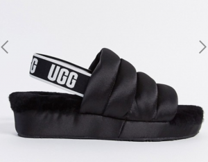 UGG puff slippers in black