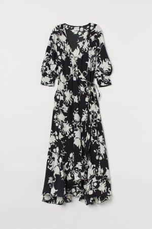 H&M x Johanna Ortiz CRÊPE BLACK AND WHITE WRAP DRESS