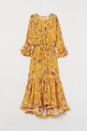 H&M x Johanna Ortiz CRÊPE MAXI YELLOW DRESS