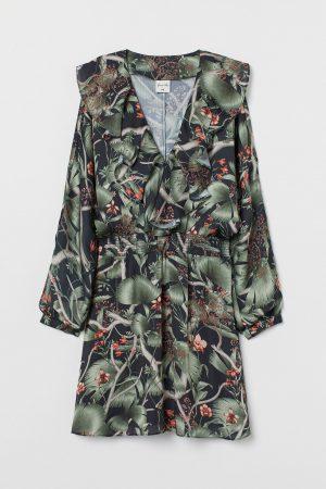 Patterned flounced dress