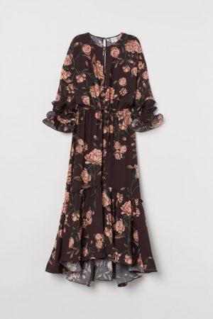 H&M FLOUNCED CRÊPE DRESS