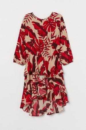 H&M x Johanna Ortiz FLOUNCED Leaf print DRESS