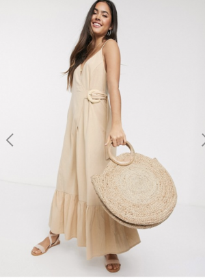 ASOS DESIGN cami wrap maxi dress in linen with wicker belt in stone