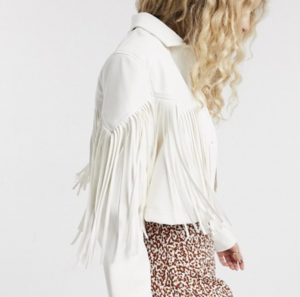 Bershka western faux leather jacket with fringing in white