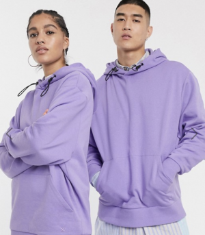 COLLUSION Unisex hoodie in lilac with toggle