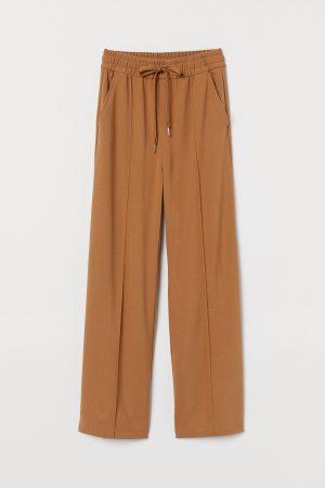 Dark beige Wide pull-on trousers
