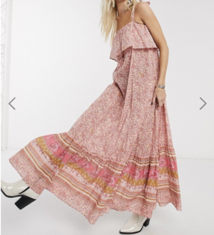 Free People tangier babydoll maxi dress in rose
