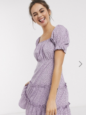 Influence puff sleeve tiered square neck mini dress with tiered hem in lilac polka dot