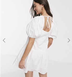 Influence puff sleeve tiered square neck mini smock dress in white