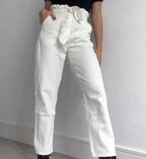 & Other Stories belted tapered jean in off white