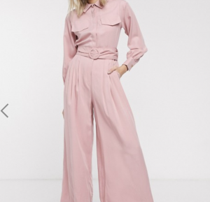 Palones Pleated Belted Jumpsuit in Pink